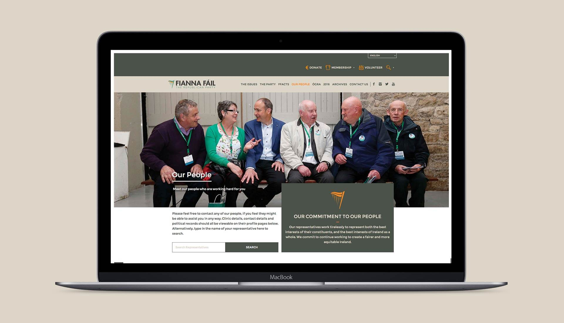 Fianna Fail website page to find representatives on a macbook