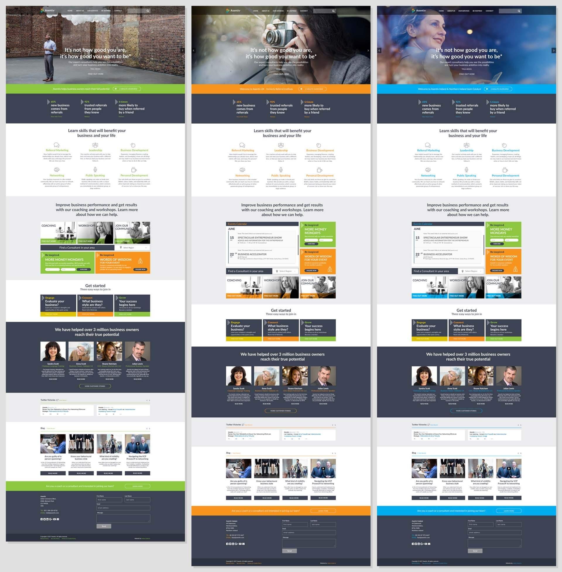 3 Asentiv branded styles of website