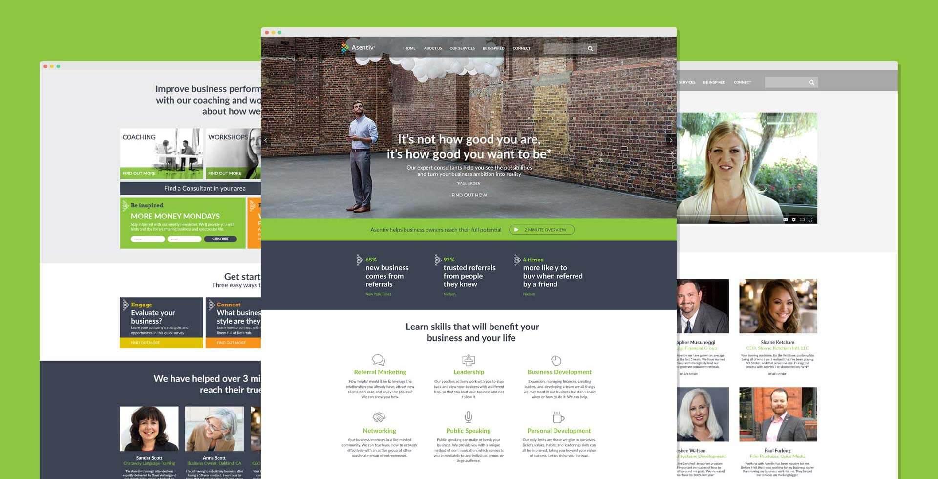 Asentiv website after re-branding