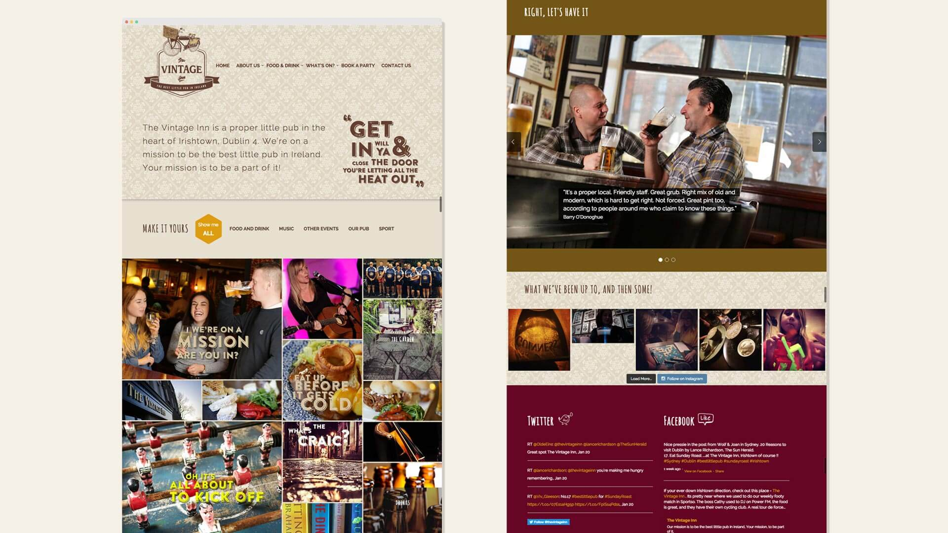Vintage Inn Web Homepage