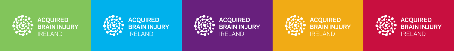 Acquired Brain Injury new brand identity on different colours from the logo