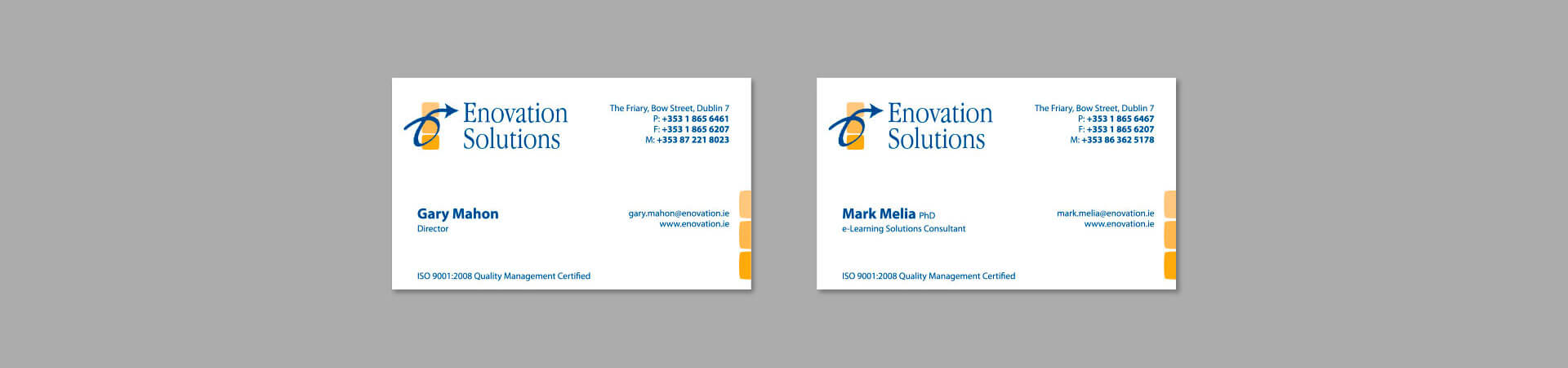 Enovation's old business cards before rebranding