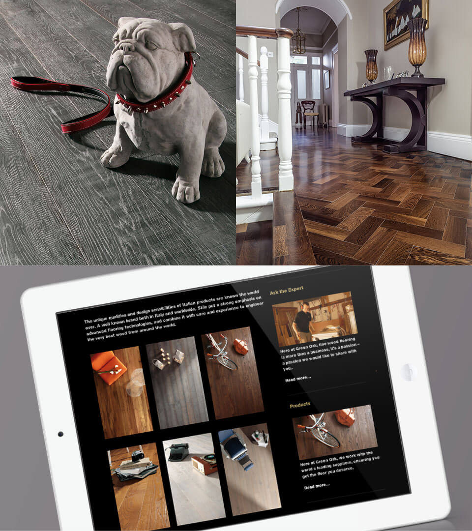 Montage of 3 photos. A dog on wood floors, shiny wood floor close up and green oak responsive website on tablet