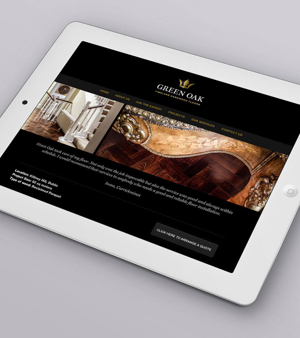 Green Oak responsive website on an ipad