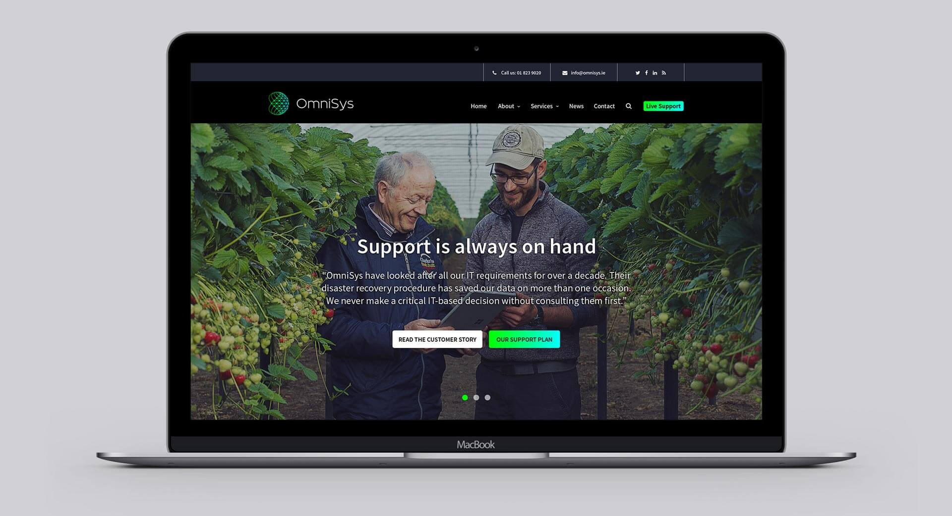 Omnisys website after redesign
