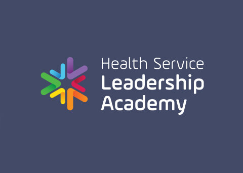 Health Service Leadership Academy reversed coloured logo