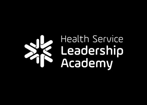 Health Service Leadership Academy reversed black and white logo