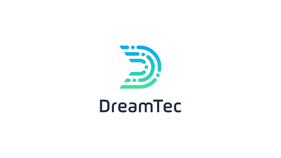 DreamTec stacked vertical logo reversed