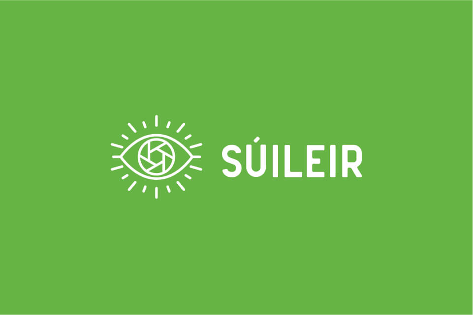 suileir reversed logo on green